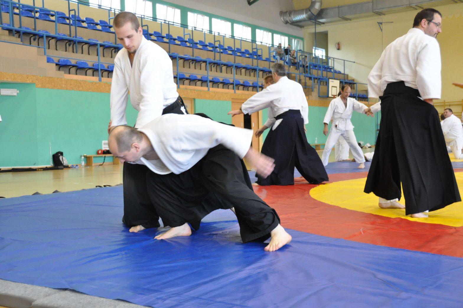 Aikidocy ćwiczący na macie